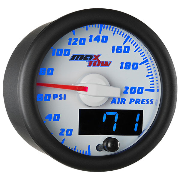 White & Blue MaxTow 200 PSI Air Pressure Gauge