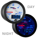 White & Blue MaxTow 30,000 PSI Fuel Rail Pressure Gauge Day/Night View
