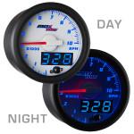 White & Blue MaxTow 10,000 RPM Tachometer Gauge Day/Night View