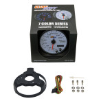 """GlowShift White 7 Color 3 3/4"""" In-Dash KM Speedometer Gauge Unboxed"""