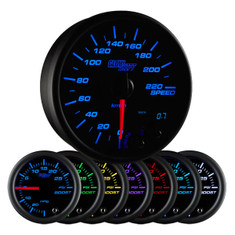 "Black 7 Color 3 3/4"" In-Dash Kilometer Speedometer Gauge"