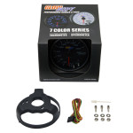 """GlowShift Tinted 7 Color 3 3/4"""" In Dash KM Speedometer Gauge Unboxed"""