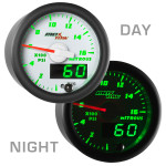 White & Green MaxTow Nitrous Pressure Gauge Day/Night View