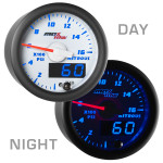 White & Blue MaxTow Nitrous Pressure Gauge Day/Night View
