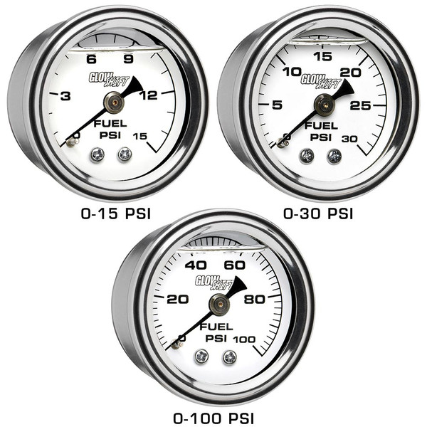 15 PSI, 30 PSI & 100 PSI Liquid Filled Mechanical Fuel Pressure Gauges - White Gauge Face