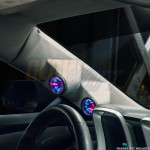 2010-2015 Chevrolet Camaro Gray Full Size Dual Pillar Pod Installed Side View