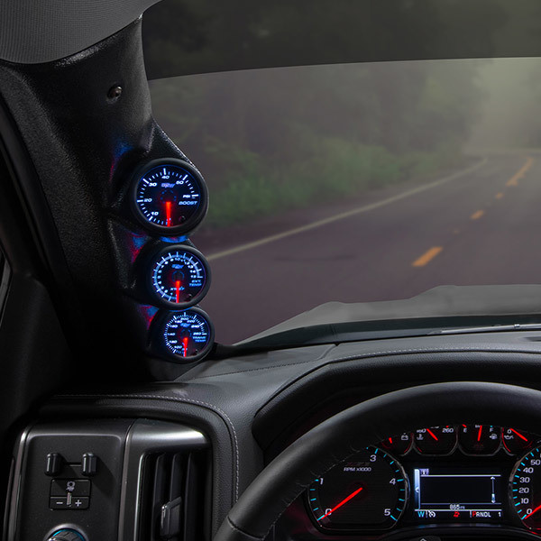 2-1//16 GlowShift Black Triple Pillar Gauge Pod for 2000-2006 GMC Sierra 1500 2500HD 3500HD Duramax Gauges to Trucks A-Pillar Mounts 3 52mm ABS Plastic