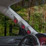 08-14 Subaru Impreza Gray Triple Pillar Pod Installed - Angled View