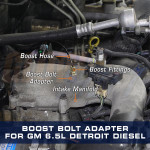 Boost Bolt Thread Adapter for GM 6.5L Turbo Diesel Installed to Truck