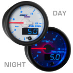 White & Blue MaxTow 15 PSI Fuel Pressure Gauge Day/Night View