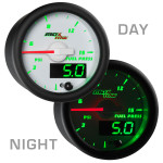 White & Green MaxTow 15 PSI Fuel Pressure Gauge Day/Night View