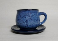 Southwestern Stoneware Teacup with Saucer