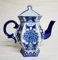 Blue and White Tall Teapot Wall Vase