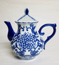 Blue and White Round Teapot Wall Vase