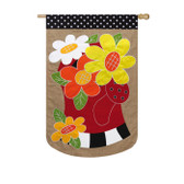 Regular Burlap Watering Can Flowers Flag