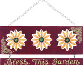 "Hanging Wood Flower ""Bless This Garden"" Sign"