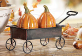 Ceramic Pumpkin Salt & Pepper Shakers In Metal Cart