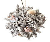 Frosted Faux Coral/Shell Ball Ornament