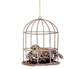 Glitter Wire Bird in Cage Ornament