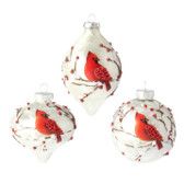 "3"" Glass Cardinal Ornament"