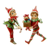 "5"" Elf Ornament 2 Asst"