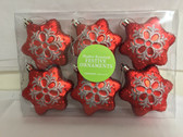 Red Snowflake Ornament Set of 6