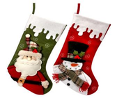 "20"" Dripping Snow Santa or Snowman Stocking"