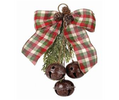 "12"" Frosted Plaid Bow with 3 Bells Ornament"