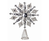 "14.5"" Glitter Metal and Jewel Snowflake Tree Topper"
