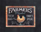 """Embossed Tin Wall Decor """"Farmers Market..."""" w/ Rooster Image"""