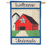 Country Patriotic Barn House Burlap Flag