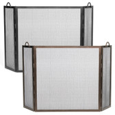 """36"""" x 36"""" Flat Top Graphite Twisted Rope Folding Screen"""
