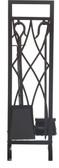 "5 Piece Decorative Black Wrought Iron Fireset 30""H"