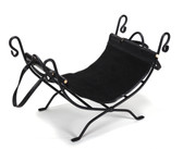"""Black Wrought Iron Log Holder w Suede & Leather Trim Carrier 26.75""""L x 14""""W x 17.5""""H"""