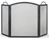 "Black Wrought Iron 3 Fold Embossed  Arched Screen 32.5""H x 52""W"