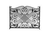 "Black Arched Panel Screen w Decorative Design 33""H x 44""W"