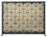 "Black Panel Screen w Antique Gold Fan Design 33""H  x 44""W"