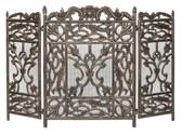 "Decorative Antique Bronze 3 Fold Cast Aluminum Screen 30.25""H x 46""W"