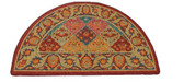 "Multi & Burgandy Half Round Hearth Rug 43""L x 26""W"