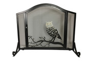 "Black Arched Panel Screen w Brushed Bronze Owl Design 31""H x 37""W"