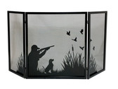 "Black 3 Fold Screen w Duck Hunting Design 32""H x 57.75""W"