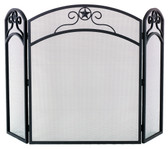 "Black Wrought Iron 3 Fold Arch Screen 32""H x 52""W"