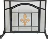 """Black Wrought Iron Screen w Glass Fleur De Lis Design 30.75""""H x 37.75""""W"""