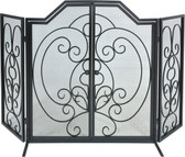 "Black Arched Tri Fold Decorative Screen w Operable Doors 32""H x 55""W"