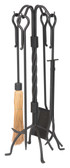 "5 Piece Twist Black Wrought Iron Tool Set 31""H"