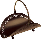 "Bronze Wood Basket w Filigree Body 21""L"
