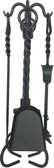 "5 Piece Black Wrought Iron Stove Fireset 21""H"