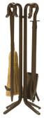 "5 Piece Bronze Wrought Iron .75"" Thick Fireset 27.25""H"