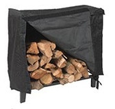 "Black Steel Log Holder Cover 50""L"