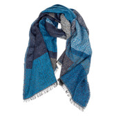 Blue Angle Cut Blanket Scarf